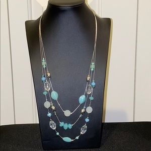 3 Tier Teal Beaded Necklace